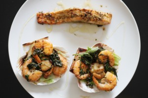 Salmon, Scallops and Prawns 2