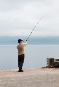 Fishing at Armadale Pier, Isle of Skye