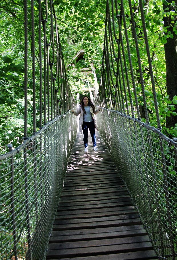 Jumping on the Rope Bridge, The Alnwick Garden Treehouse